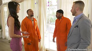 Marvelous join in matrimony gets two black inmates to operate her proper cuckold